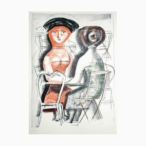 Women at the Table - Original Lithograph by Massimo Campigli - 1952 1952