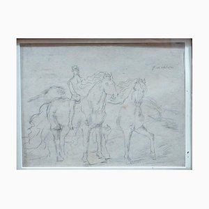 Boceto para '' The Horses '' - Lápiz de dibujo original de 1920