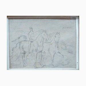 Esquisse pour '' The Horses '' - Dessin au Dessin Original 1920s