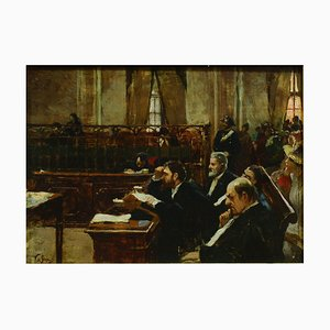 L'Aula del Tribunale - Original Oil on Canvas by Vincenzo dé Stefani - 1891 1891