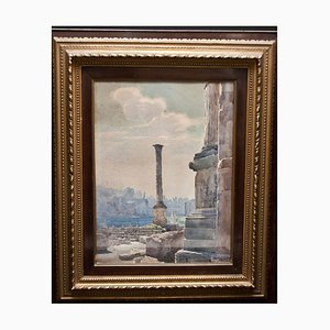 View of the Roman Forum - ''Colonna di Foca'' - Original Watercolor 1885 ca. 1885 ca.