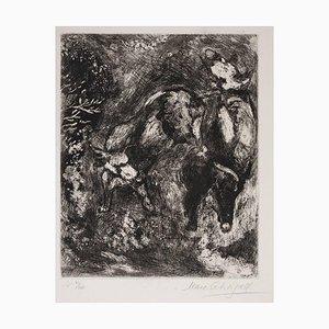 Acquaforte Les Deux Taureaux et une Grenouille di Marc Chagall 1927-1930