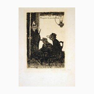Les Masques Scandalisés - Original Etching by J. Ensor - 1895 1895