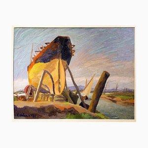 Boat - 1930s - Egidio Valenti - Painting - Contemporary 1931