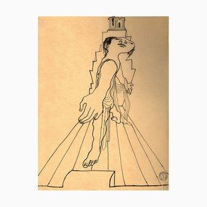 The Olympus - Original China Ink Drawing by Jean Cocteau - 1920s 1920 ca.
