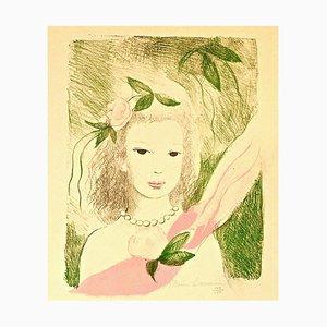Fillette à la Rose - Original Lithographe by Marie Laurencin - 1955 1955