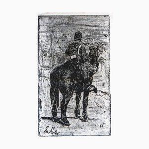 Gunner Riding - Original Radierung von Giovanni Fattori - um 1900 Ca. 1900