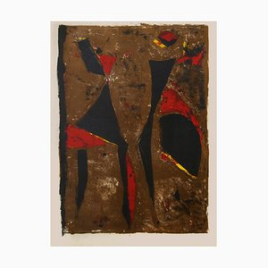 Red Knight on Brown Background - Original Lithograph by Marino Marini - 1961 1961