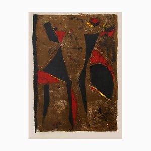 Roter Ritter auf Braunem Untergrund - Original Lithographie von Marino Marini - 1961 1961