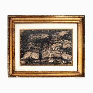Galloping Horses - Original Charcoal on Paper by Giuseppe Cominetti - 1916 1916