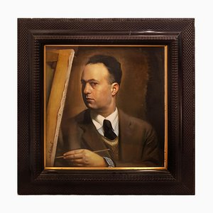 Self Portrait - Öl auf Karton von Rosario Pulvirenti - 1936 1936