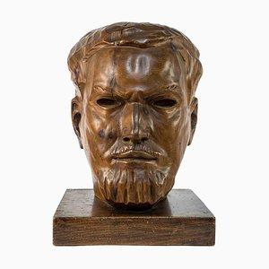 Portrait of Italo Balbo - Original Wooden Sculpture by Marco Novati - 1930s 1930s