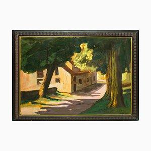 Landscape with House (Villa Borghese) - Oil on Table by Giorgio de Vincenzi 1928