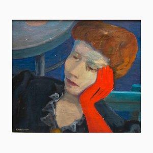 La Nobildonna - Il Guanto Rosso (Noblewoman - The Red Glove) - Oil on Canvas 1947