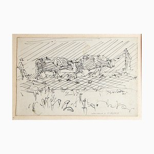 Labourage à la brunie - 1940s - Jacques Villon - Original Drawing - Modern 1940