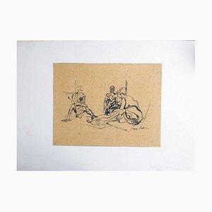 Avant le Bain - 1920er - Jacques Villon - China Ink - Modern 1926