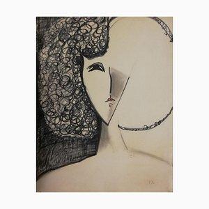 Woman - 1970s - François Chapuis - Pastel - Contemporary 1975