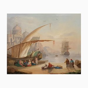 Harbor View with Merchants and a Mosque - 19th Century - Painting - Modern