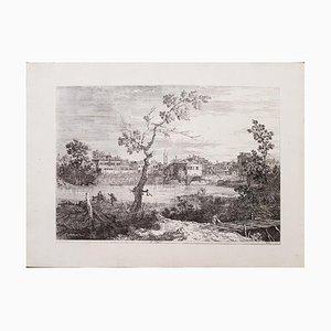 Ansicht einer Stadt am Flussufer - Original Radierung von Canaletto 1735-1746