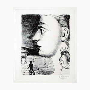 Portrait - Original Etching by P. Delvaux