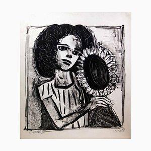 Woman with Sunflower - Original Lithografie von Otto Dix - 1958 1958