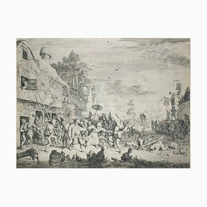 The Kermesse - Original Etching by Cornelis Dusart - 1686 1685