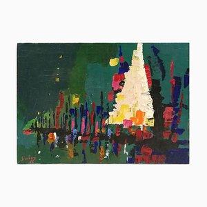 Nocturne - Original Ölfarbe von Nicola Simbari 1966