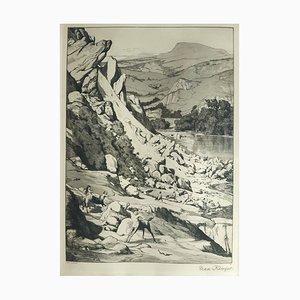 Bergsturz - Original Etching by M. Klinger - 1881 1881
