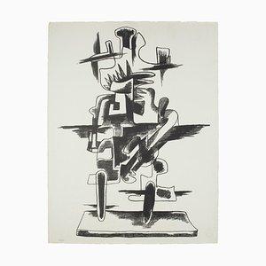 Lithographie Le Merveilleux Radeau - Original N / B par Zadkine Ossip - 1966 1966
