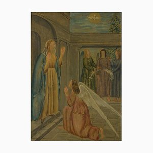 Annunciation - Original Oil on Canvas by Carlo Socrate - 1936 1936