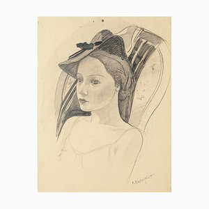 Woman with a Hat - Original Pencil Drawing by C. Breveglieri - 1930s 1930s