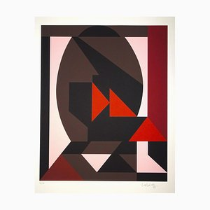 Mixed Pink Composition - Original Screen Print by V. Vasarely - 1989 1989
