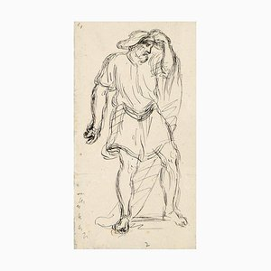 Male Figure - China Ink Drawing by A.-F. Cals - Late 19th Century Late 19th Century