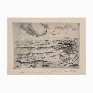 Acquaforte Marina di Burrasca - Incisione originale di Carlo Carrà - 1924 1924