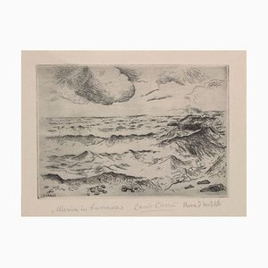 Puerto deportivo de Burrasca - Grabado original de Carlo Carrà - 1924 1924