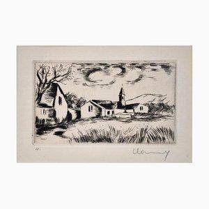 Landscape with Bell Tower - Original Etching by M. de Vlaminck - 1930s 1930s