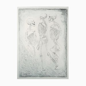 Dance of the Skeletons - Original Lithograph by Carlo Carrà - 1944 1944