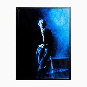 Ritratto di Andy Warhol in posa - Stampa blu di G. Bruneau - anni '80