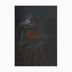 The Musician - Original Gouache on Paper by Pippo Oriani - Mid 20th Century Mid 1900