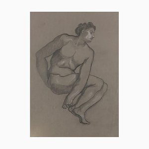 Male Nude - Original Pencil and White Lead on Paper by L. Russolo - 1920s 1908-1909
