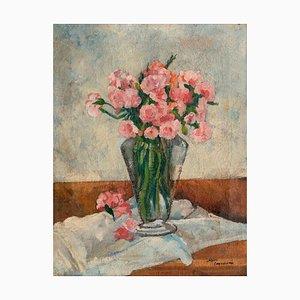 Vase with Flowers - Original Öl auf Leinwand von A. Cappellini - Mid 1900 Mid Century Design
