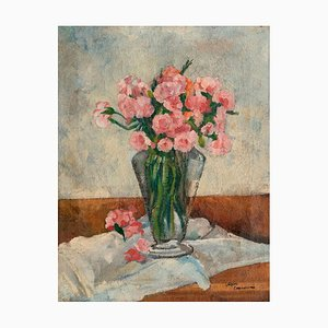 Vase with Flowers - Original Oil on Canvas by A. Cappellini - Mid 1900 Mid 20th Century