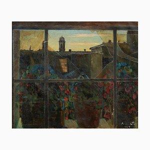 View of Via Margutta - Original Oil on Canvas by N. da Cosenza - 1954 1954