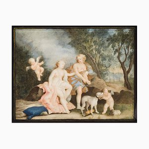 Mythological Scene - Original Oil on Board - 18th Century 18th Century