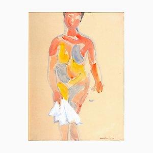 Female Nude - Gouache on Paper by Luigi Montanarini - 1985 1985