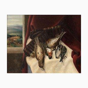 Still Life - Original Öl auf Platte von A. Bruschetti - Mid 1900 Mid 1900