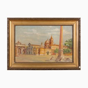 Piazza del Popolo, Rome - Oil on Canvased Cardboard - Early 20th Century Early 20th Century