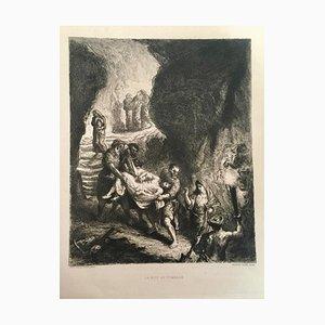 Le Mise au Tombeau - Etching by E. Delacroix - 1859 1859