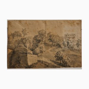 Rome, The Countryside- Original China Ink Drawing by Jan Pieter Verdussen - 1742 1742