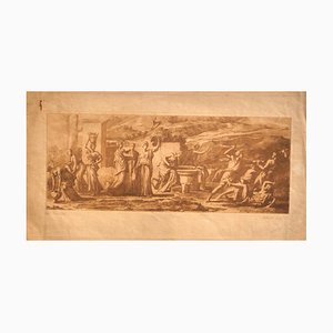 Quarrel - Original Etching by E. Rosotte after Poussin - 19th Century 19th Century
